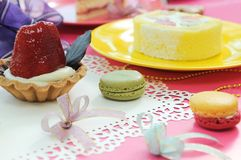Colorful dessert party with many cakes Royalty Free Stock Images