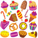 Colorful desserts clip art set. Colorful desserts, candy and cakes clip art set Stock Image