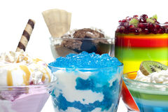 Colorful desserts mixed assortment. Colorful desserts with jelly mixed assortment stock photography