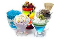 Colorful desserts mixed assortment. Colorful desserts with jelly mixed assortment royalty free stock images