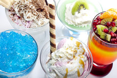 Colorful desserts mixed assortment. Colorful desserts with jelly mixed assortment royalty free stock photos
