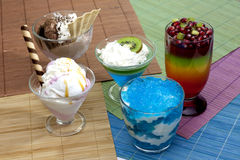 Colorful desserts mixed assortment. Colorful desserts with jelly mixed assortment stock images