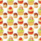 Colorful desserts and pastry seamless vector pattern on white background. Bright colorful desserts and pastry seamless vector pattern on white background Stock Photos