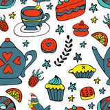 Colorful desserts seamless pattern Royalty Free Stock Photos