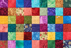 Colorful detail of quilt sewn from square pieces Stock Photography