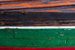 Colorful detail of a wooden fishing boat stock photography