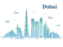 Colorful detailed dubai line vector cityscape with skyscrapers. Dubai urban building, business city illustration Royalty Free Stock Photo