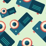 Classic digital projector flat icon seamless pattern. Colorful detailed and realistic flat design style icon seamless pattern Stock Photo