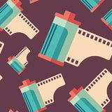 Hipster film roll flat icon seamless pattern. Colorful detailed and realistic flat design style icon seamless pattern Royalty Free Stock Image