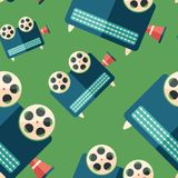 Retro studio projector flat icon seamless pattern. Colorful detailed and realistic flat design style icon seamless pattern Royalty Free Stock Photo