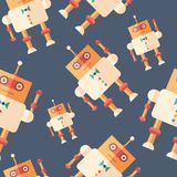 Robot steward flat icon seamless pattern. Colorful detailed and realistic flat design style icon seamless pattern Stock Photos