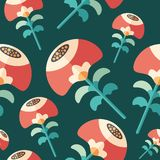 Summer flowers flat icon seamless pattern. royalty free illustration