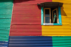Colorful Details in La Boca. Colorful details of a wall and window in Buenos Aires Royalty Free Stock Image