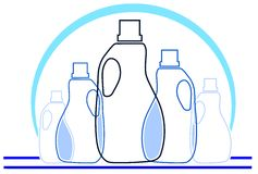 Colorful Detergent bottles background Royalty Free Stock Photography