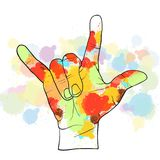 Colorful devil horn hand Royalty Free Stock Photos