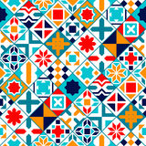 Colorful diagonal geometric tiles seamless pattern, vector Stock Photography