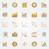 Colorful diagram and graph icons. Vector set of bar and pie chart creative signs. Statistics design elements Stock Image
