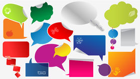Colorful dialog boxes and stickers Stock Photos