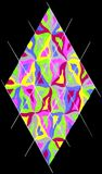 Colorful diamond. A colorful gel pen diamond shape drawing on a black background Royalty Free Stock Photography