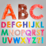 Colorful diamond font from triangles. Vector illustration Royalty Free Stock Photo