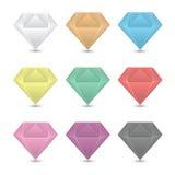 Colorful diamond icons set. Stock Photography