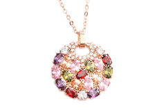Colorful Sparkling Diamond Necklace Royalty Free Stock Images