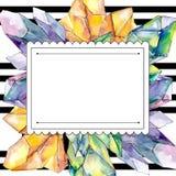 Colorful Diamond Rock Jewelry Mineral. Frame Border Ornament Square. Stock Photos