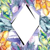 Colorful Diamond Rock Jewelry Mineral. Frame Border Ornament Square. Royalty Free Stock Image