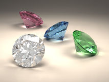 Colorful diamonds. 3D rendering shiny diamonds in different colors vector illustration