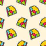 Colorful diamonds patch seamless pattern vector illustration