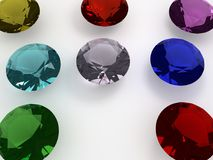 A few large colored diamonds. Colorful diamonds set on a white plane, a sample of these beautiful jewels 3d modeling echoed by computer royalty free illustration
