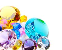 Colorful diamonds on white Royalty Free Stock Photos