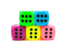 Colorful dice. Five colorful dice isolated on white background Royalty Free Stock Image