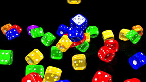Colorful Dice On Black Background stock footage