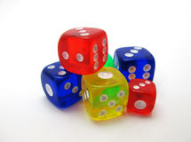 Colorful dice. Dices with different colors on white background Royalty Free Stock Photography