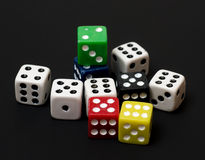 Colorful dice. Colorful dice representing a game of chance Royalty Free Stock Photos