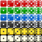 Colorful Dice Set. Dice set in six different colors, isolated on white and black background. Eps file available