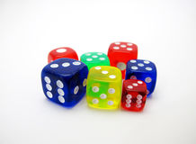 Colorful dice on white background. Dices with different colors on white background Stock Image