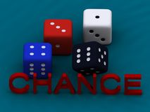 Colorful dice and word chance Stock Photos