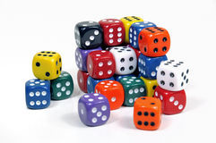 Colorful dices. Cube of colorful casino dices on white background stock photos