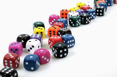 Colorful dices. Colorful casino dices on white background royalty free stock photo