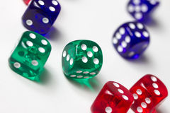 Colorful dices background isolated on white. Some colorful dices background isolated on white Royalty Free Stock Image