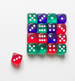 Colorful dices background isolated on white. Some colorful dices background isolated on white Stock Photos