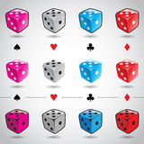 Colorful Dices and Card Suits Royalty Free Stock Images