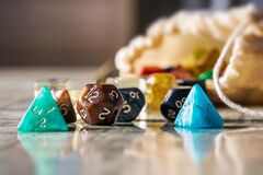 Free Colorful Dices Used To Play Role Playing Game And Board Game Close-up Stock Image - 188801221