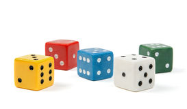 Colorful dices on white background stock photography