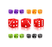 Colorful Dices with white dots icon set Stock Image