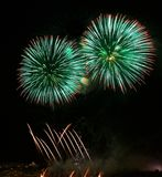 Colorful different colors, amazing fireworks in Malta on Santa Maria day, Malta, dark sky background, Malta fireworks festival, 4. Green colorful fireworks in Royalty Free Stock Photography