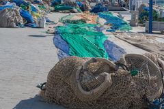 Colorful different fishing nets Stock Photos