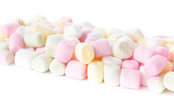 Colorful different  Fluffy Round Marshmallow isolated on white b Royalty Free Stock Photo